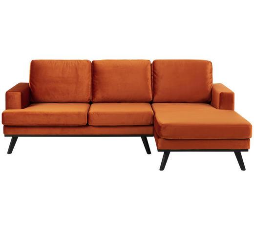 WOHNLANDSCHAFT Kupferfarben Samt  - Schwarz/Kupferfarben, Design, Holz/Textil (233/148cm) - Carryhome