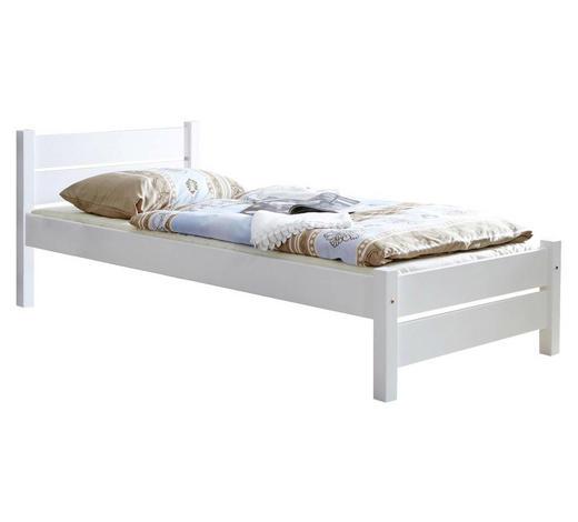 BETT Kiefer massiv 100/200 cm  - Weiß, KONVENTIONELL, Holz (100/200cm) - Carryhome