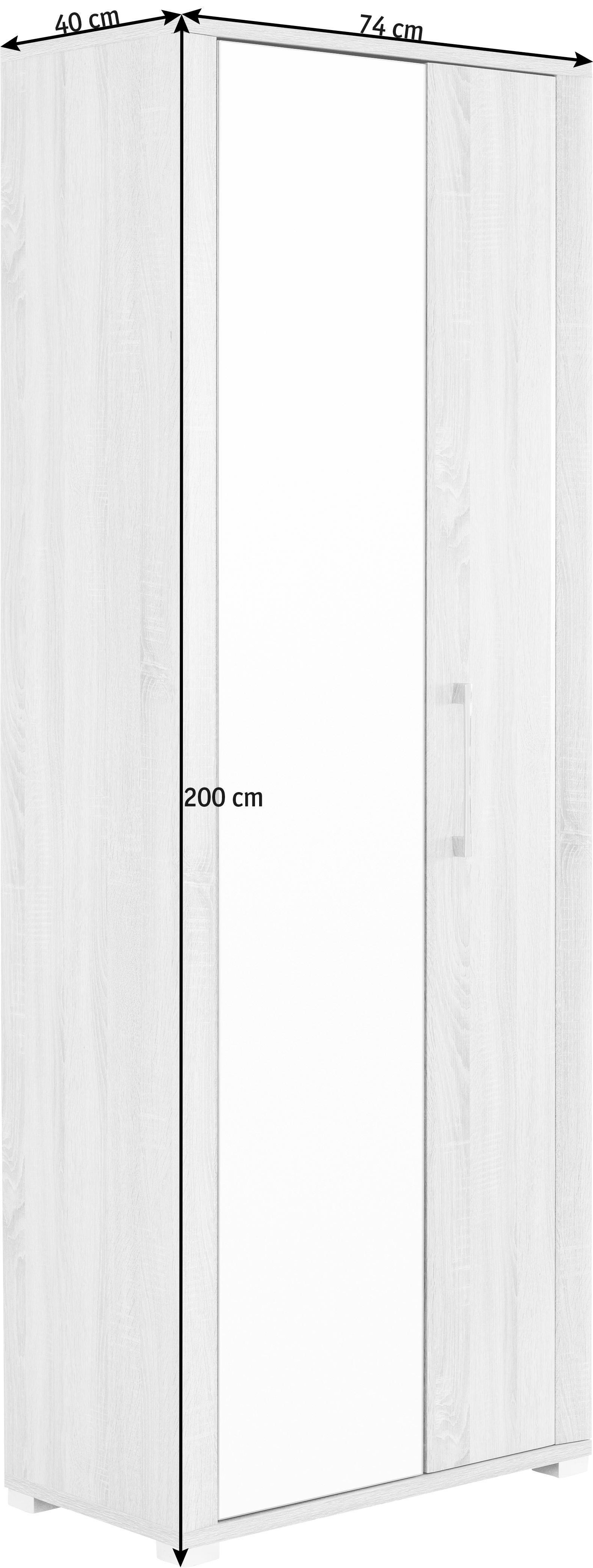 ORMAR GARDEROBNI - boje srebra/hrast Sonoma, Konvencionalno, staklo/drvni materijal (74/200/40cm) - CANTUS
