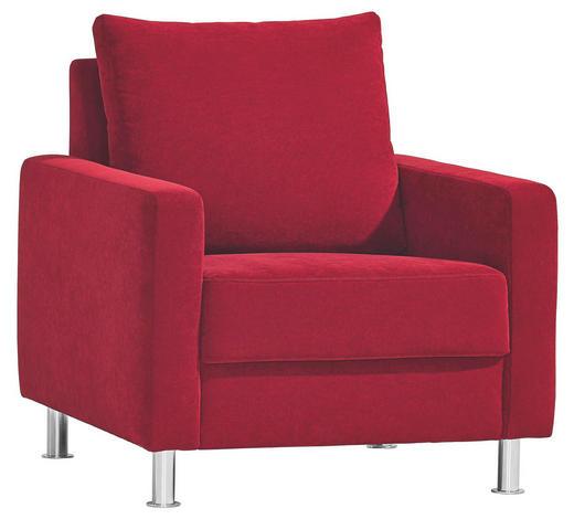 SESSEL in Textil Rot - Chromfarben/Rot, Design, Textil/Metall (81/90/85cm) - Bali