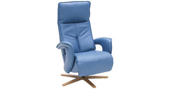 RELAXAČNÍ KŘESLO - modrá/barvy dubu, Design, dřevo/kůže (77/112/87cm) - Valdera