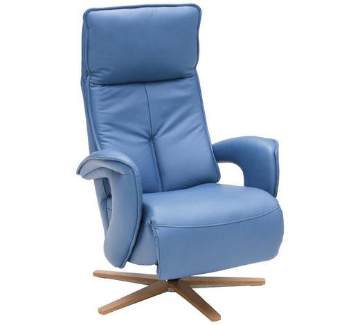 RELAXAČNÍ KŘESLO, kůže, modrá - modrá/barvy dubu, Design, dřevo/kůže (77/112/87cm) - Valdera
