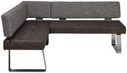 ECKBANK 156/203 cm  in Grau, Edelstahlfarben  - Edelstahlfarben/Grau, Design, Textil/Metall (156/203cm) - Moderano