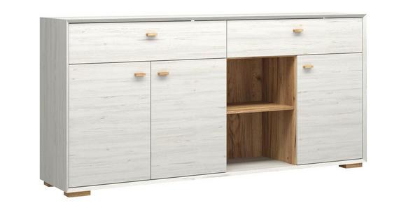 SIDEBOARD melaminharzbeschichtet Weiß  - Eichefarben/Weiß, Design, Holz/Holzwerkstoff (187/91/41cm) - Linea Natura