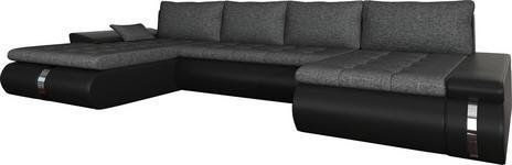 WOHNLANDSCHAFT in Textil Schwarz, Dunkelgrau  - Dunkelgrau/Schwarz, KONVENTIONELL, Kunststoff/Textil (216/385/164cm) - Carryhome