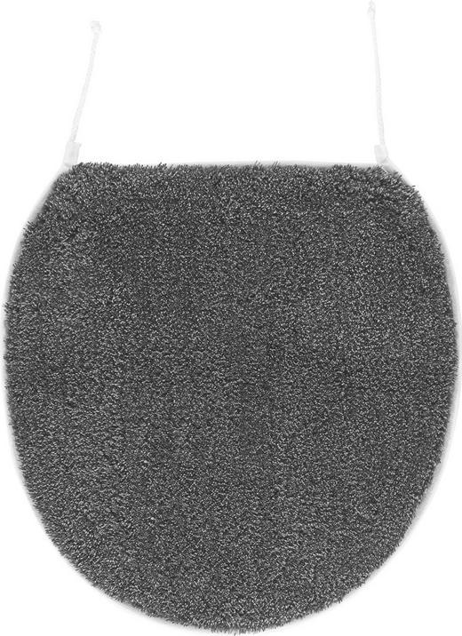 WC-DECKELBEZUG  Anthrazit - Anthrazit, KONVENTIONELL, Textil (47/50cm) - Kleine Wolke
