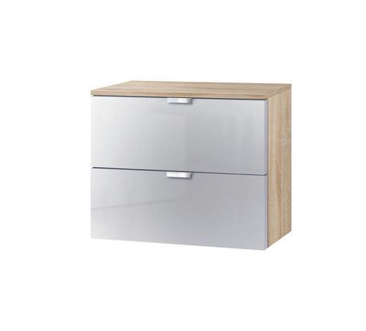 KOMMODE Hellgrau, Sonoma Eiche  - Hellgrau/Alufarben, KONVENTIONELL, Glas/Metall (50/42/42cm) - Carryhome