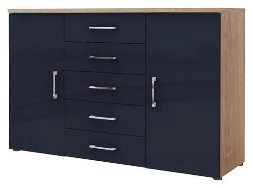 KOMMODE Dunkelblau, Eichefarben - Chromfarben/Eichefarben, Design, Holzwerkstoff/Metall (130/84/39,5cm) - Voleo
