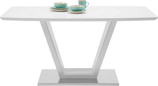 MATBORD - vit/rostfritt stål-färgad, Design, metall/glas (160/76/90cm) - Modern Living