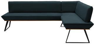 ECKBANK 223/163 cm  in Schwarz, Eichefarben, Petrol  - Eichefarben/Petrol, Design, Holz/Textil (223/163cm) - Voleo