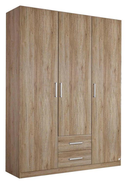 DREHTÜRENSCHRANK Eichefarben - Eichefarben/Silberfarben, Design, Holzwerkstoff/Kunststoff (136/197/54cm) - Carryhome