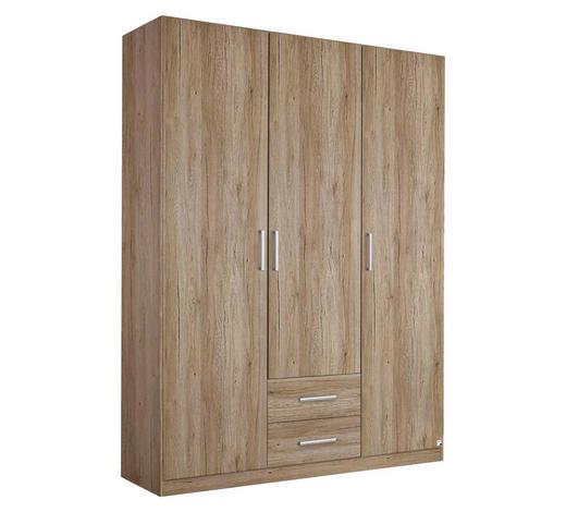 DREHTÜRENSCHRANK in Eichefarben - Eichefarben/Silberfarben, Design, Holzwerkstoff/Kunststoff (136/197/54cm) - Carryhome