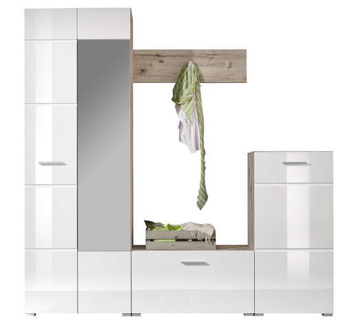 PREDSOBA bela, hrast - bela/hrast, Design, steklo/leseni material (195/195/36cm) - Xora