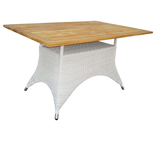 GARTENTISCH   - Weiß/Teakfarben, Design, Holz/Kunststoff (140/75/90cm)