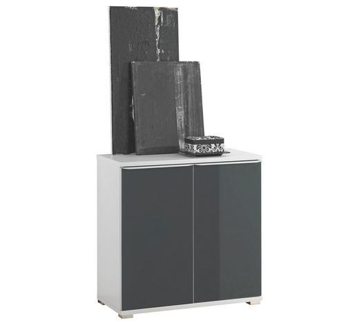 KOMMODE Anthrazit, Weiß  - Anthrazit/Alufarben, Design, Glas/Holzwerkstoff (80/80/40cm) - Moderano