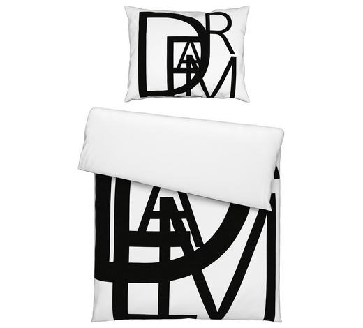 BETTWÄSCHE Renforcé Schwarz, Weiß 135/200 cm  - Schwarz/Weiß, Design, Textil (135/200cm) - Novel