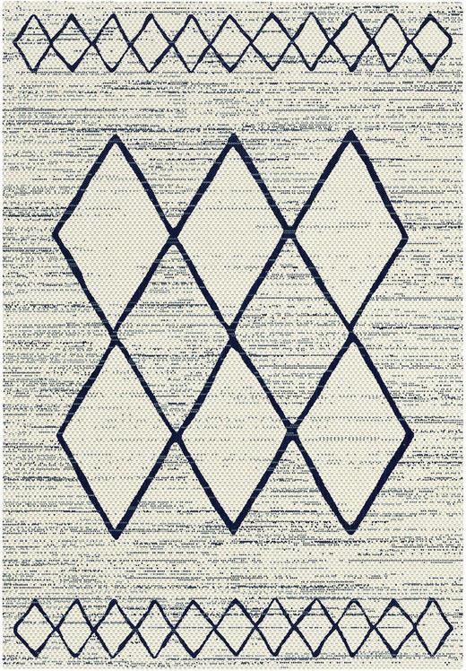 FLACHWEBETEPPICH  120/170 cm  Blau, Weiß - Blau/Weiß, MODERN, Kunststoff (120/170cm) - Boxxx