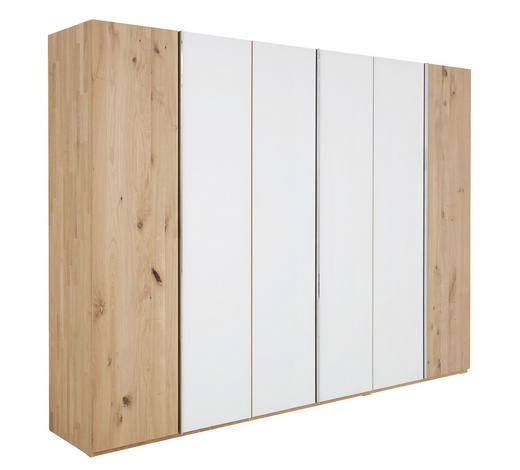 DREHTÜRENSCHRANK in massiv Eiche Weiß, Eichefarben - Eichefarben/Silberfarben, Natur, Glas/Holz (299/222/57cm) - Valdera