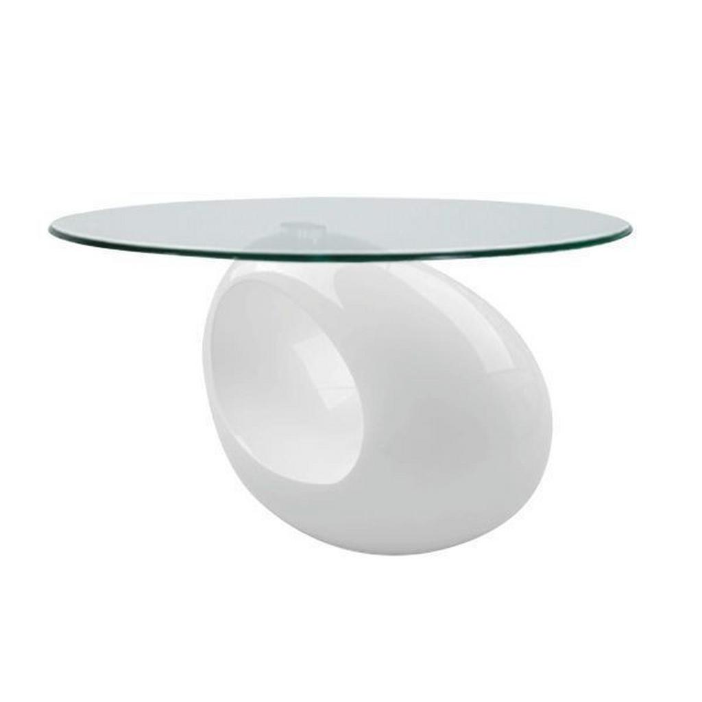 Carryhome Couchtisch , Weiß , Kunststoff, Glas , oval , rund , 65x42 cm , ISO 9001 , Wohnzimmer, Wohnzimmertische, Couchtische
