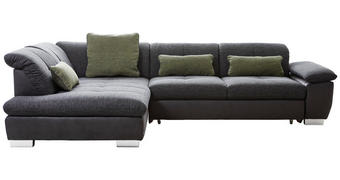 Wohnlandschaft in Dunkelgrau Textil   - Chromfarben/Dunkelgrau, Design, Textil (242/313cm) - Xora