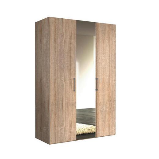 DREHTÜRENSCHRANK 3-türig Sonoma Eiche - Alufarben/Weiß, KONVENTIONELL, Glas/Holzwerkstoff (150/216/58cm) - Hom`in