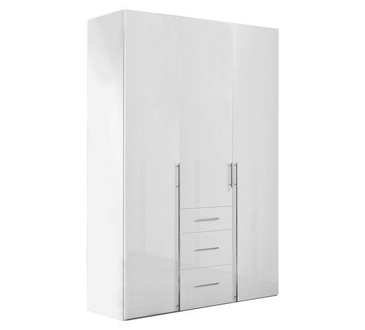 KLEIDERSCHRANK in Weiß - Chromfarben/Weiß, Design, Holzwerkstoff/Metall (150/236/58cm) - Hom`in