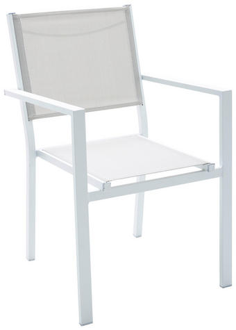 STOL  aluminij bela, siva - siva/bela, Design, kovina/tekstil (55 86 61cm) - Ambia Garden