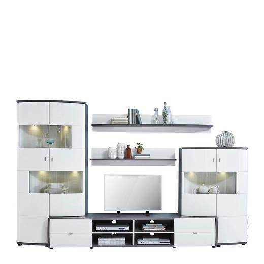 WOHNWAND Dunkelgrau, Weiß - Dunkelgrau/Schwarz, Design, Holzwerkstoff/Kunststoff (310/193/53cm) - Xora