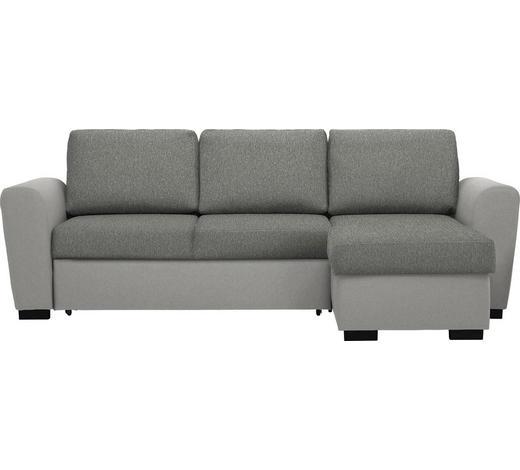 WOHNLANDSCHAFT in Textil Grau - Schwarz/Grau, Design, Kunststoff/Textil (250/157cm) - Carryhome