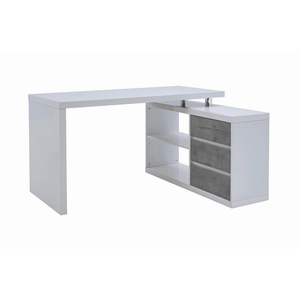 Voleo ROHOVÝ PSACÍ STŮL, šedá, bílá, 140/114,5/75 cm - šedá, bílá