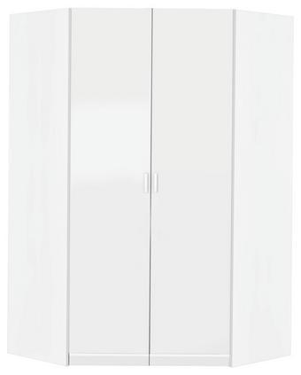 BEGEHBARER ECKSCHRANK Weiß 117/199/117 cm - Silberfarben/Weiß, Basics, Holzwerkstoff/Kunststoff (117/199/117cm) - Carryhome
