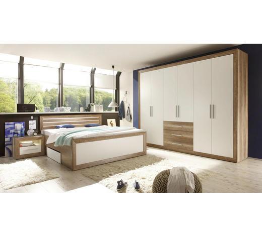 SPALNICA, bela, hrast - bela/hrast, Design, leseni material (180/200cm) - Venda