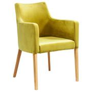 ARMLEHNSTUHL Samt Hellgrün  - Walnussfarben/Hellgrün, Trend, Holz/Textil (60/87/70cm) - Kare-Design