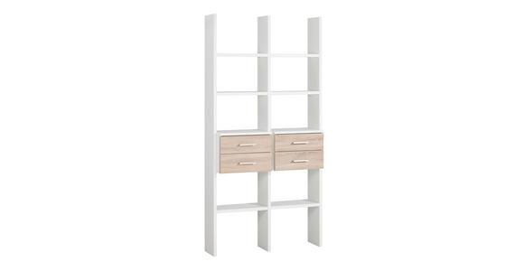 REGALKOMBINATION in Eichefarben, Weiß - Eichefarben/Alufarben, Design, Holzwerkstoff/Metall (108,4/217,4/35,1cm) - Cantus