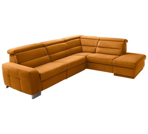 WOHNLANDSCHAFT in Textil Currygelb - Currygelb/Alufarben, KONVENTIONELL, Textil/Metall (295/245cm) - Beldomo System