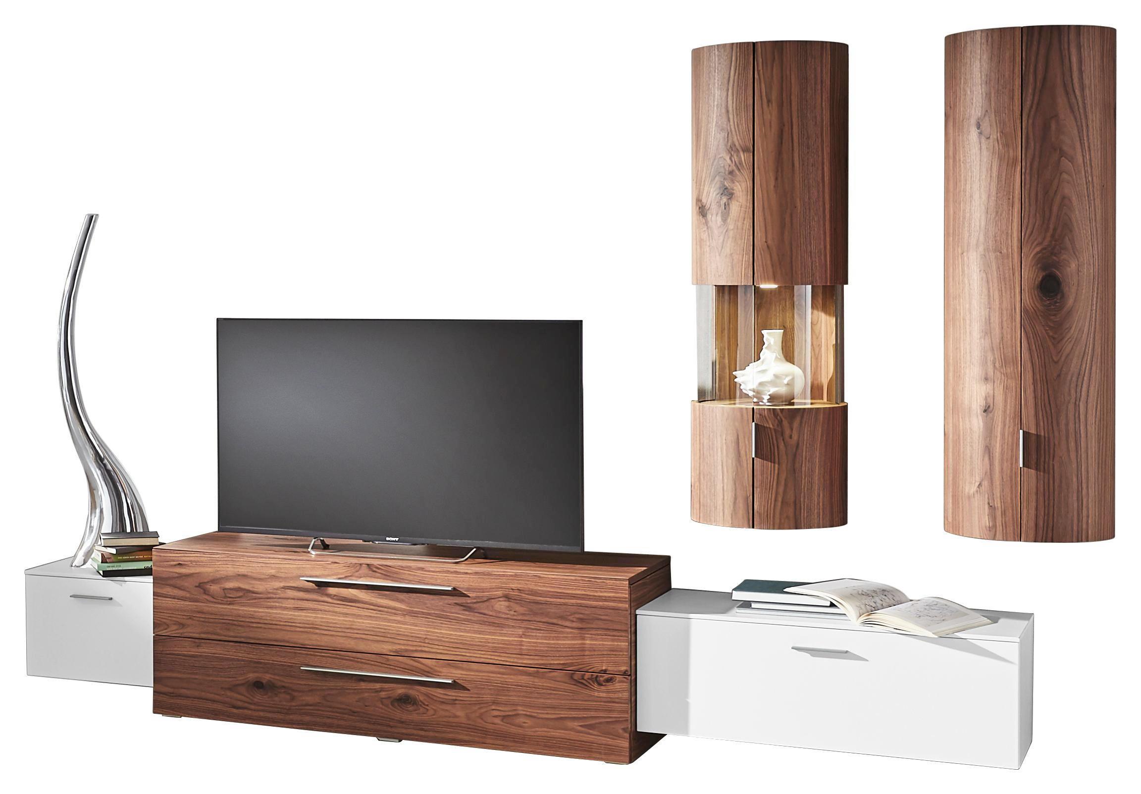 WOHNWAND Kernnussbaum Furniert Nussbaumfarben, Weiß    Nussbaumfarben/Alufarben, Design, Holz/Holzwerkstoff