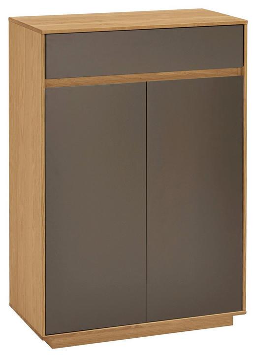 SCHUHSCHRANK Eiche teilmassiv lackiert Dunkelbraun, Eichefarben - Eichefarben/Dunkelbraun, Design, Holz/Holzwerkstoff (72/103/37cm)