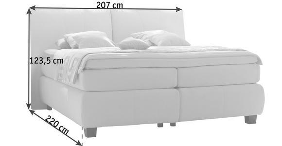 BOXSPRINGBETT 180/200 cm  in Weiß  - Alufarben/Weiß, KONVENTIONELL, Textil/Metall (180/200cm) - Dieter Knoll