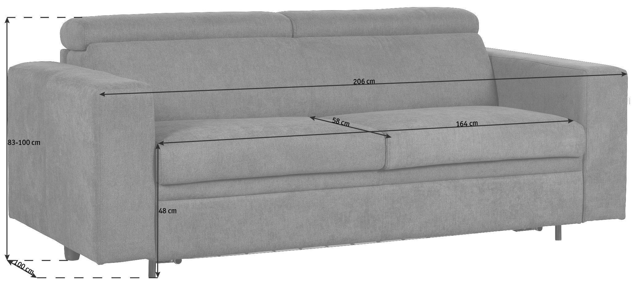 BÄDDSOFFA - mörkgrå/svart, Klassisk, textil/plast (206/83-100/100cm) - Venda