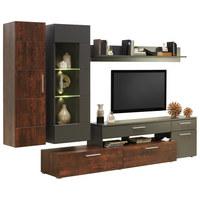OBÝVACÍ STĚNA, barvy grafitu, bronzová - rezavá/bronzová, Design, kov/kompozitní dřevo (300/190/50cm) - Carryhome