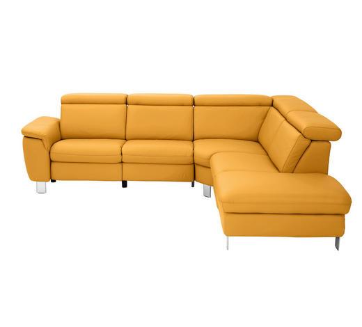 SEDACÍ SOUPRAVA, kůže, žlutá - barvy hliníku/žlutá, Design, kov/kůže (271/242cm) - Cantus