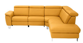 WOHNLANDSCHAFT in Gelb Leder - Gelb/Alufarben, Design, Leder/Metall (271/242cm) - Cantus
