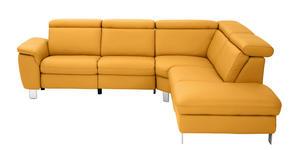 WOHNLANDSCHAFT Gelb Echtleder  - Gelb/Alufarben, Design, Leder/Metall (271/242cm) - Cantus