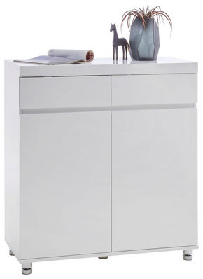 SKOSKÅP - vit/kromfärg, Design, metall/träbaserade material (90/98/40cm) - Xora
