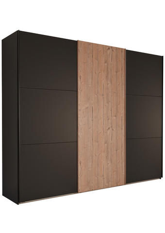 Schwebetürenschrank in Graphitfarben, Fichtefarben  - Fichtefarben/Graphitfarben, Design, Holzwerkstoff (300/236/65cm) - Ti`me