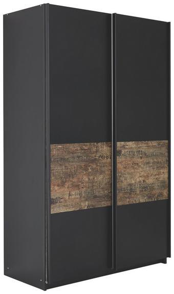 SCHWEBETÜRENSCHRANK 2-türig Braun, Schwarz - Schwarz/Braun, Design, Holzwerkstoff/Metall (136/223/69cm) - Carryhome