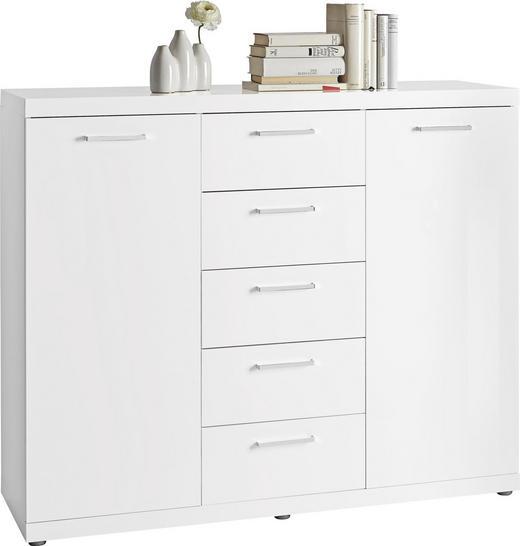 KOMMODE Weiß - Chromfarben/Alufarben, Design, Holzwerkstoff/Kunststoff (129,3/106,6/40cm) - Carryhome