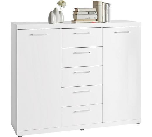 KOMMODE Hochglanz, lackiert Weiß - Chromfarben/Alufarben, Design, Holzwerkstoff/Kunststoff (129,3/106,6/40cm) - Carryhome
