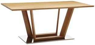 ESSTISCH in Holz, Metall 140/80/76 cm   - Edelstahlfarben/Eichefarben, KONVENTIONELL, Holz/Metall (140/80/76cm) - Venda