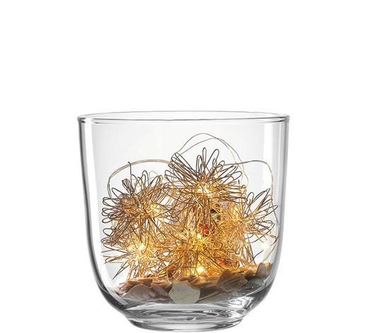 WINDLICHT - Transparent/Beige, Basics, Glas/Naturmaterialien (14,00/16,60/14,00cm) - Leonardo